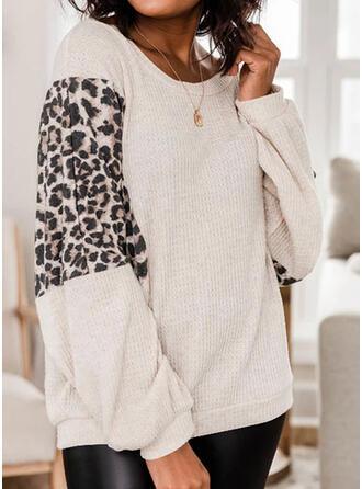 Leopard Round Neck Long Sleeves Sweatshirt