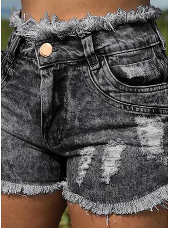 Pockets Shirred Above Knee Sexy Sporty Denim Shorts Denim & Jeans