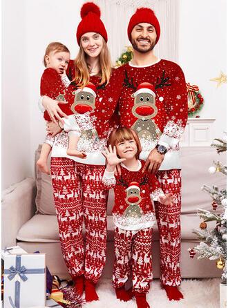 Reindeer Color Block Print Family Matching Christmas Pajamas