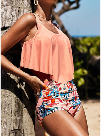 Floral High Waist Print Strap U-Neck Vintage Tankinis Swimsuits