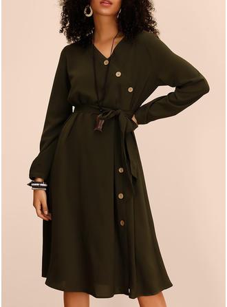 Solid Long Sleeves A-line Knee Length Casual/Elegant Dresses