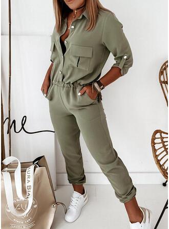 Solid Shirt collar 3/4 Sleeves Casual Elegant Jumpsuit