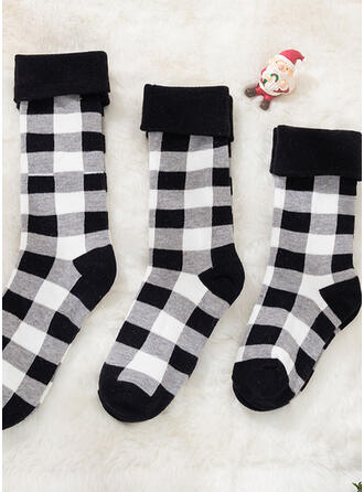 Plaid Breathable/Comfortable/Christmas/Crew Socks/Family Matching/Unisex Socks
