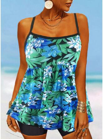 Tropical Print Strap U-Neck Vintage Fresh Tankinis Swimsuits