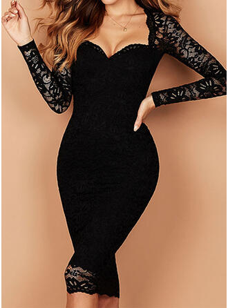 Solid Lace Long Sleeves Bodycon Knee Length Little Black/Casual Pencil Dresses