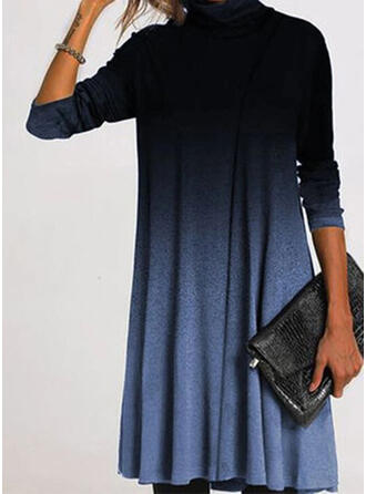 Color Block Long Sleeves Shift Knee Length Casual Tunic Dresses