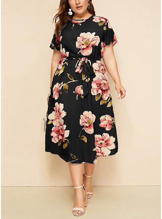 Plus Size Floral Print Short Sleeves A-line Midi Casual Elegant Dress