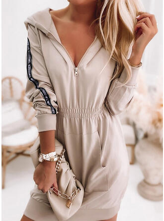 Solid Long Sleeves Hourglass Above Knee/Midi Casual Dresses