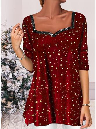 Christmas Star Velvet Square Collar Long Sleeves T-shirts