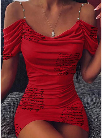 Print/Beaded Short Sleeves Bodycon Above Knee Party Dresses