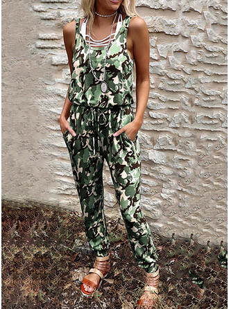 Camouflage Round Neck Sleeveless Casual Vacation Jumpsuit