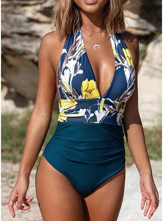 Stripe Splice color Halter Sexy Retro One-piece Swimsuits