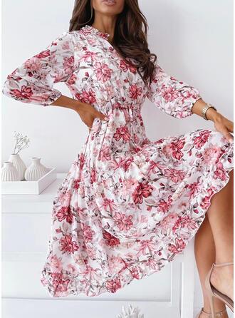 Print/Floral 3/4 Sleeves A-line Skater Elegant Midi Dresses