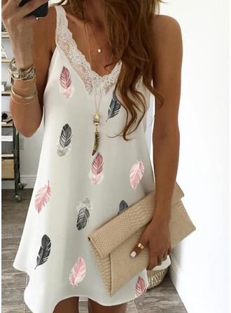 Lace/Print Sleeveless Shift Above Knee Elegant Dresses