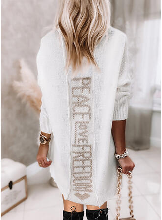 Print Heart Letter V-Neck Casual Sweater Dress
