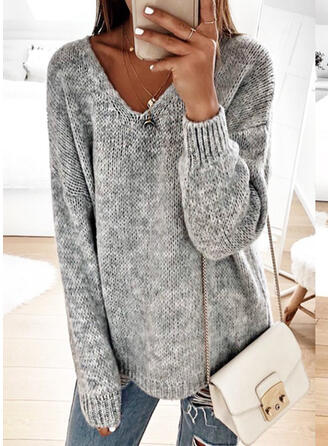 Solid Chunky knit V-Neck Sweaters