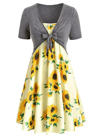 Plus Size Sunflower Print Short Sleeves A-line Knee Length Casual Elegant Dress