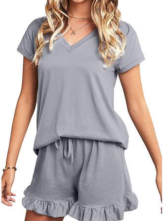 Polyester Spandex Plain Ruffles Short Sleeves V Neck Pyjama Set