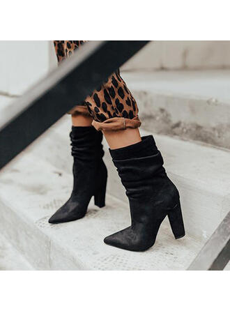 Women's PU Chunky Heel Mid-Calf Boots Martin Boots Pointed Toe With Ruched shoes