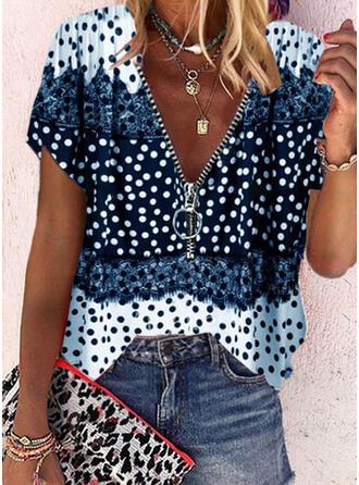 Print Lace PolkaDot V-Neck Short Sleeves Casual Blouses