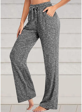 Solid Drawstring Casual Sporty Stretchy Lounge Pants