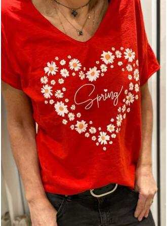 Figure Floral Heart Print V-Neck Short Sleeves T-shirts