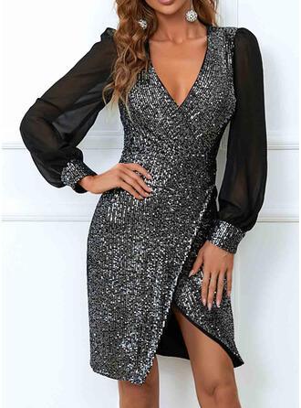 Solid Sequins Long Sleeves Lantern Sleeve Cocoon Knee Length Elegant Dresses