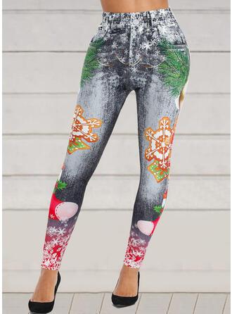 Christmas Snowflake Imitation Jean Mixed printing Long Casual Button Leggings