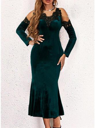 Solid Lace/Velvet Long Sleeves Cold Shoulder Sleeve Elegant Midi Dresses