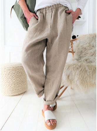 Solid Pockets Plus Size Long Casual Elegant Sexy Pants