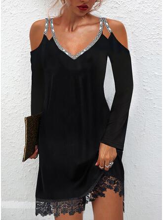 Solid Lace/Sequins Long Sleeves Cold Shoulder Sleeve Shift Above Knee Little Black/Elegant Dresses