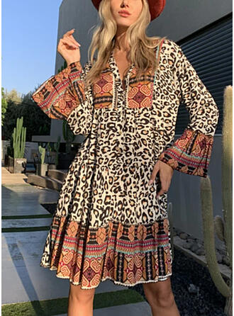 Patchwork/Leopard Long Sleeves/Flare Sleeves Shift Knee Length Boho/Vacation Tunic Dresses