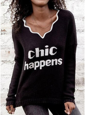 Print Letter V-Neck Casual Sweaters