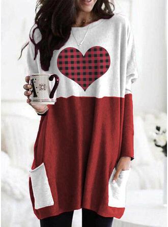 Color Block Grid Round Neck Long Sleeves Sweatshirt