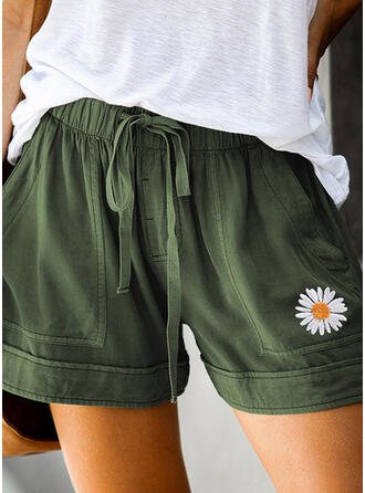 Floral Pockets Plus Size Above Knee Boho Casual Floral Shorts