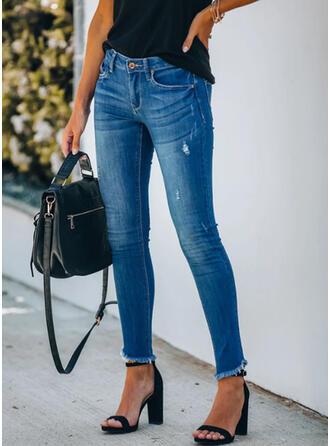 Solid Long Casual Plus Size Tassel Pocket Shirred Button Pants Denim & Jeans