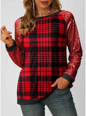 Christmas Plaid Round Neck Long Sleeves Sweatshirt