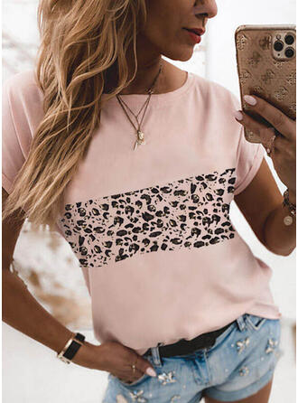 Leopard Round Neck Short Sleeves T-shirts