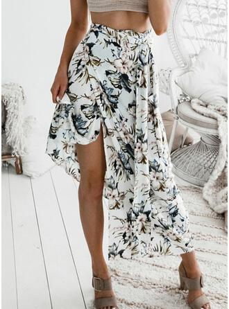 Cotton Floral Maxi High-Slit Skirts A-Line Skirts