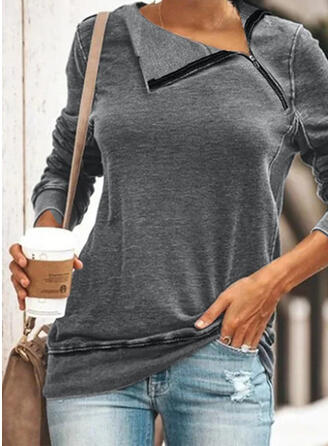 Plain Lapel Long Sleeves Sweatshirt