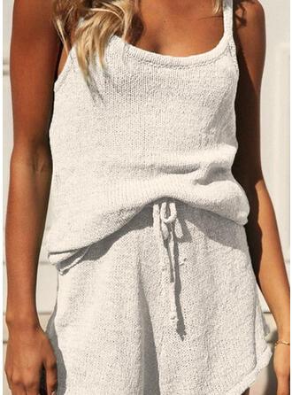 Polyester Spandex Plain Plus Size Halter Alluring Plush Cami Set