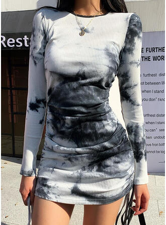 Tie Dye Long Sleeves Bodycon Above Knee Casual Dresses