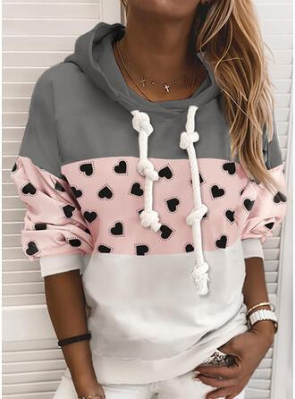 Print Color Block Heart Hoodie Long Sleeves Casual Blouses