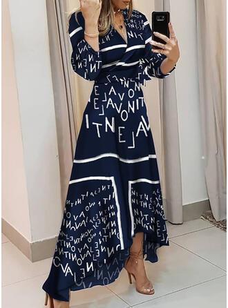 Print Long Sleeves A-line Wrap/Skater Elegant Maxi Dresses