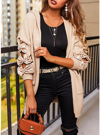 Solid Sequins Hooded Casual Cardigan
