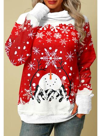 Christmas Snowflake Cartoon High Neck Long Sleeves Sweatshirt