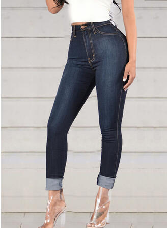 Pockets Shirred Long Elegant Sexy Skinny Denim & Jeans