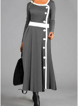 Color Block Long Sleeves A-line Skater Casual Maxi Dresses