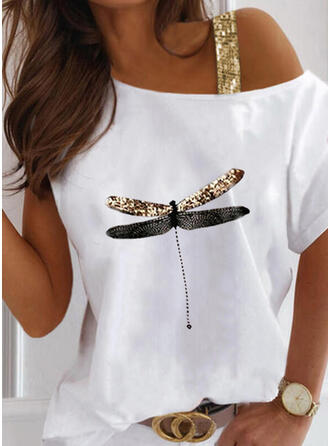 Animal Print Sequins One Shoulder Short Sleeves Casual Blouses