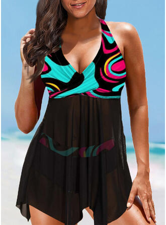 Print Halter V-Neck Plus Size Colorful Boho Swimdresses Swimsuits